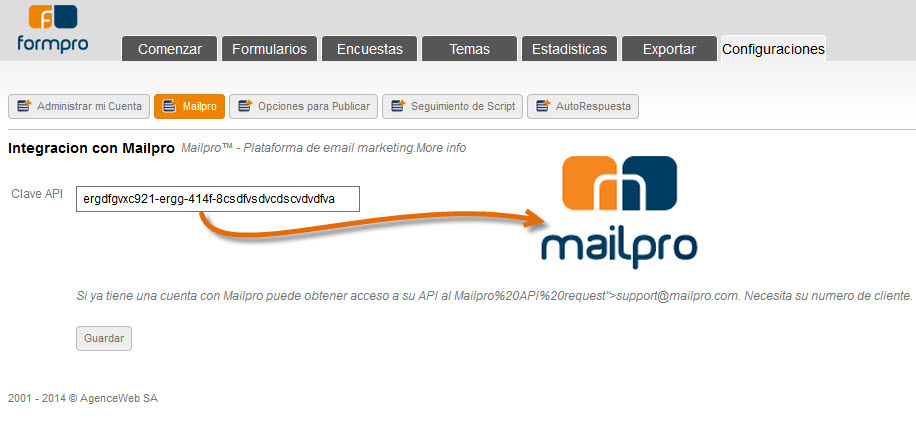 Vincular Formpro con Mailpro emailing